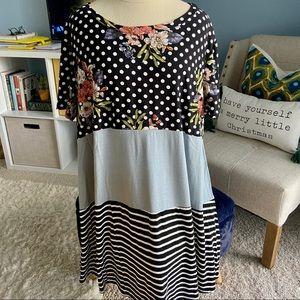 a.gain Mixed Pattern Boutique T-Shirt Dress